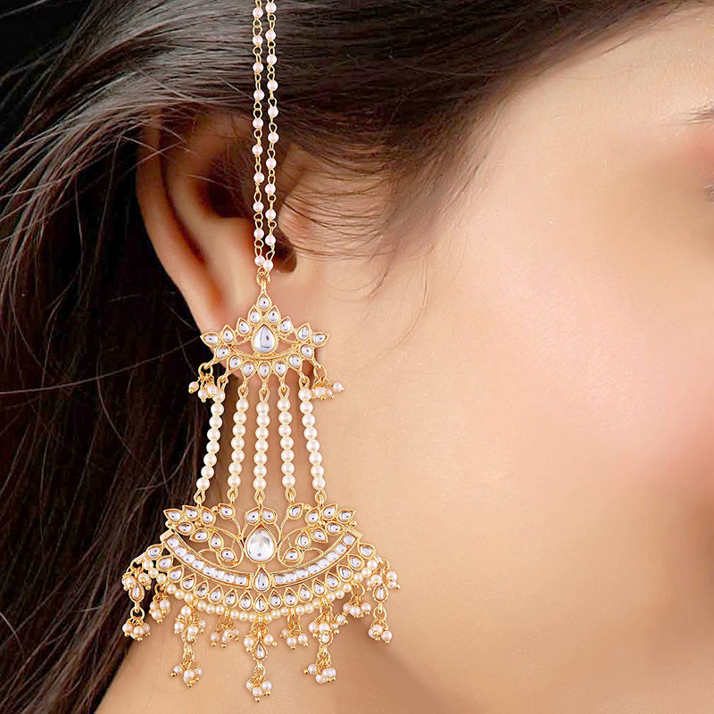 White Gold Plated Kundan & Pearl Dangle & Drop Earrings With Chain For Women
