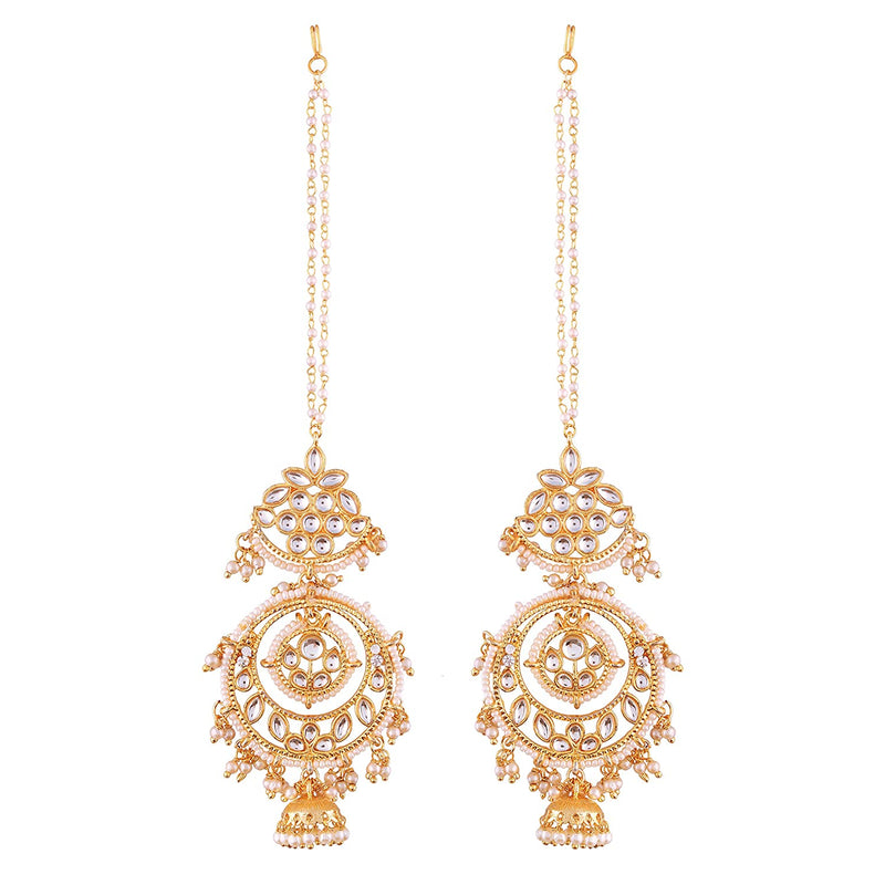 Gold Plated Kundan Jhumki Earrings With Chain For Women (White)