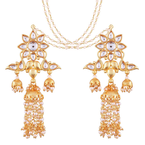 Gold Plated White Kundan Jhumki Earrings with Chain for Women