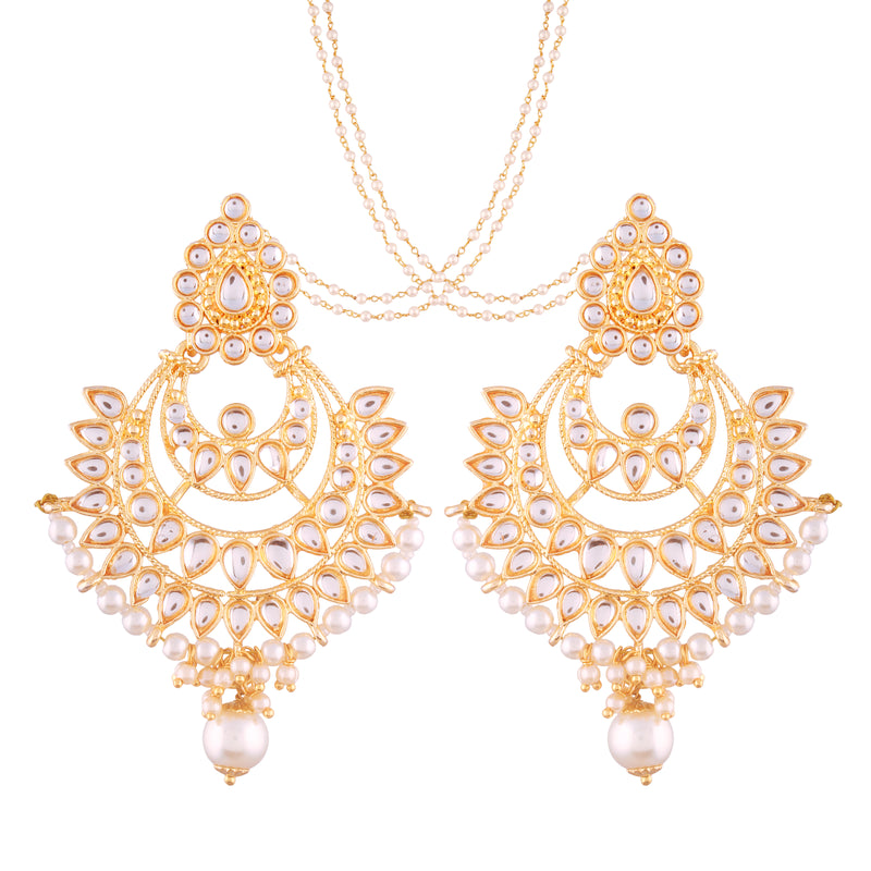 Gold Plated Kundan & Pearl Chandbali Earring with Chain for Women (E2498W)