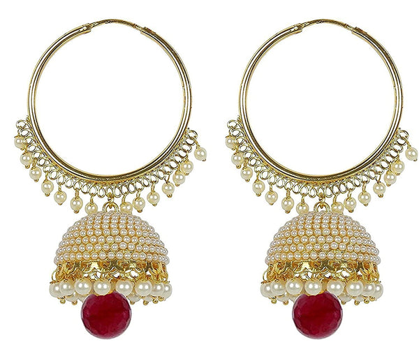 Gold-Plated Pearl Bali Hoop Earrings with Jhumki for Women
