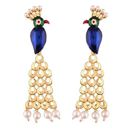 Gold Plated Peacock Shaped Earrings for Women (E2556)
