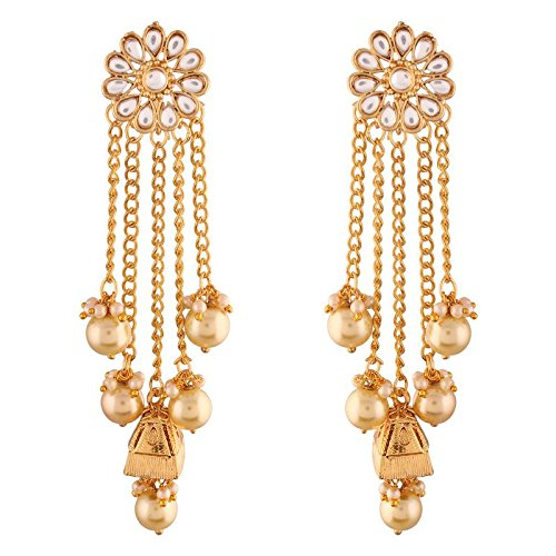 Gold Plated Pearl & Kundan Earrings for Women