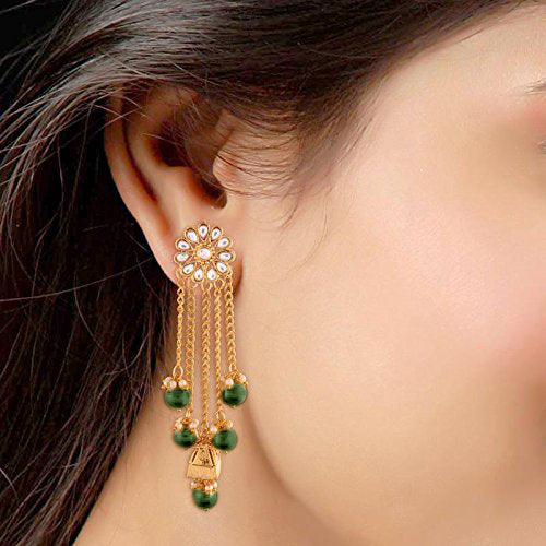 Gold Plated Pearl & Kundan Earrings for Women (E2606G)
