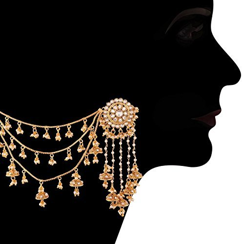 Gold Plated Pearl & Kundan Bahubali Earrings with Hair Chain for Women (E2610FL)