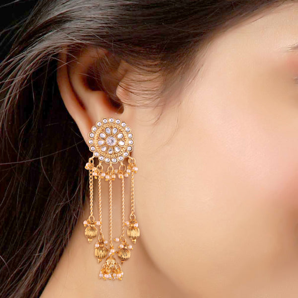Gold Plated Bahubali Kundan & Pearl Chain Jhumki Earring for Women (E2617W)