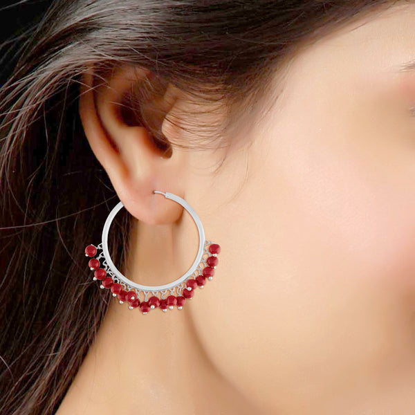 Silver Plated Pearl Hoops Earring for Women (E2628SM)