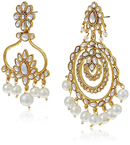 Gold Plated Kundan & Pearl Designer Combo Earrings for Women (E2632CO)