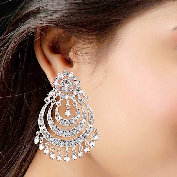 Silver Rhodium Plated Designer Chandbali Earrings for Women