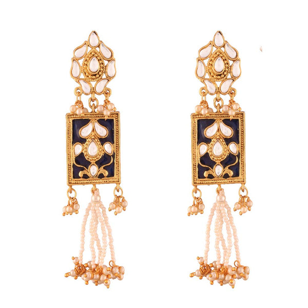 Gold Plated Traditional Padmavati Pearl & Kundan Earrings For Women