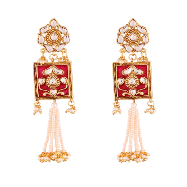 Gold Plated Traditional Padmavati Pearl & Kundan Earrings For Women (E2635Q)