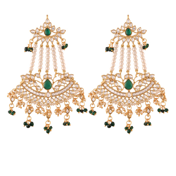 Gold Plated Traditional Kundan & Pearl Dangler Drop Paasa Earrings For Women (E2636G)