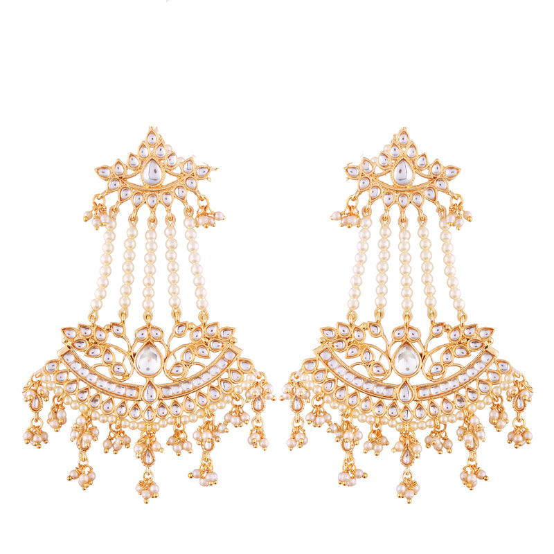 Traditional Gold Plated Kundan & Pearl Earrings For Women (E2636)