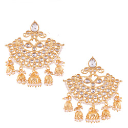 Traditional Gold Plated Kundan & Pearl Earrings For Women