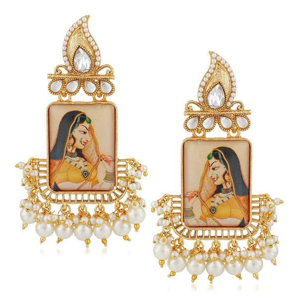 Traditional Gold Plated Padmavati Kundan & Pearl Earrings For Women (E2641)