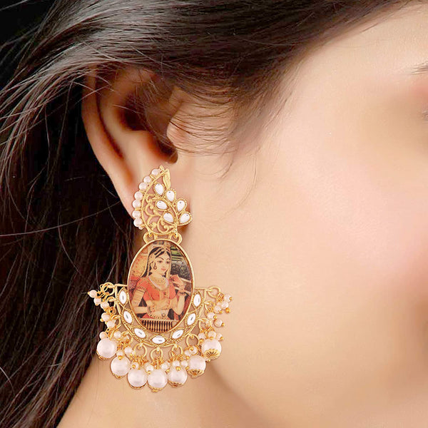 Traditional Gold Plated Padmavati Kundan & Pearl Earrings For Women (E2642)