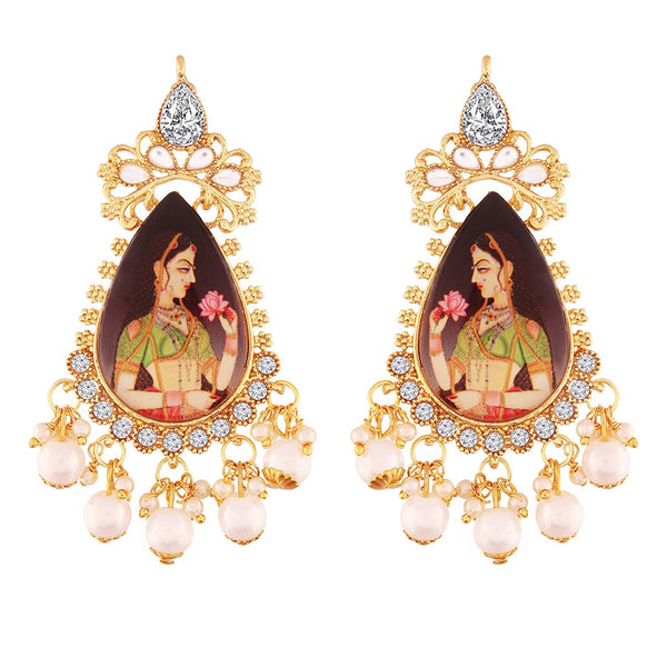 Traditional Gold Plated Padmavati Kundan & Pearl Earrings For Women (E2643)