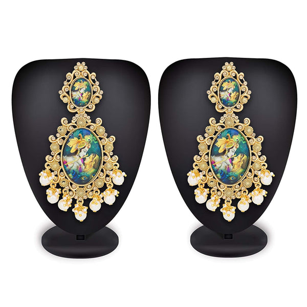 Traditional Navratri Gold Plated Lord Radha-Krishna Pearl Earrings For Women (E2644)