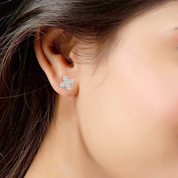 Gold Plated Floral Design Cubic Zirconia Stud Earrings for Women (E2701)