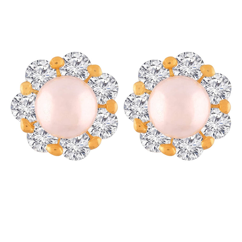 Gold Plated Floral Design Pearl & Cubic Zirconia Stud Earrings for Women (E2702)