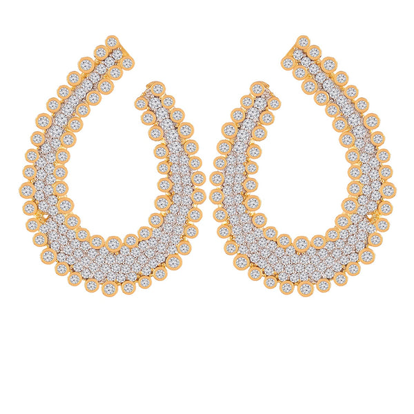 Gold Plated Cubic Zirconia Earrings for Women (E2704)