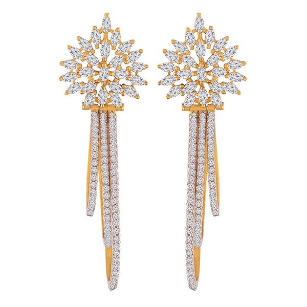 Gold Plated Cubic Zirconia Earrings for Women (E2705)