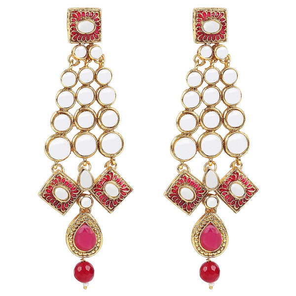 Traditional Gold Plated Meena Work Kundan & Pearl Stylish Elegant Earrings For Women