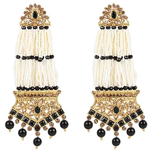 Traditional Gold Plated Stone Studded & Pearl Earrings For Women (E2781B)