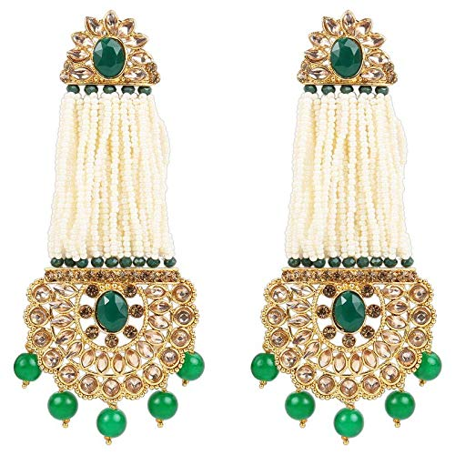 Traditional Gold Plated Stone Studded & Pearl Earrings For Women (E2782G)