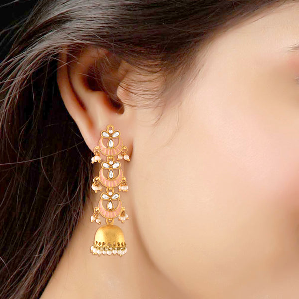 18K Gold Plated Long 3 Layered Jhumki Earrings With Pink Enamel Glided With Kundans & Pearls
