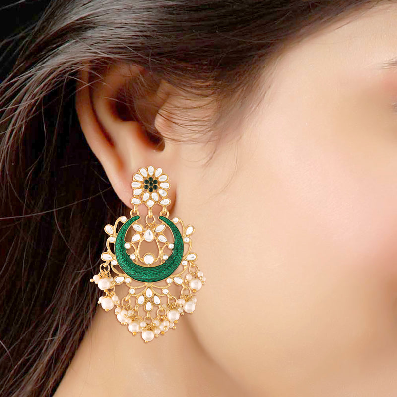 18K Gold Plated Traditional Handcrafted Emerald Enamel Meenakari Earring Glided With Kundan & Pearls (E2794G)