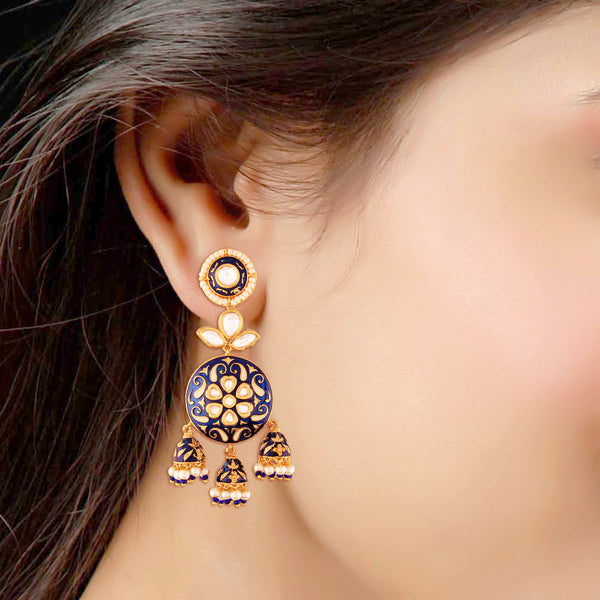 18K Gold Plated Intricately Designed Traditional Blue Enamel/Meenawork Glided With Uncut Polki Kundan Brass Earrings