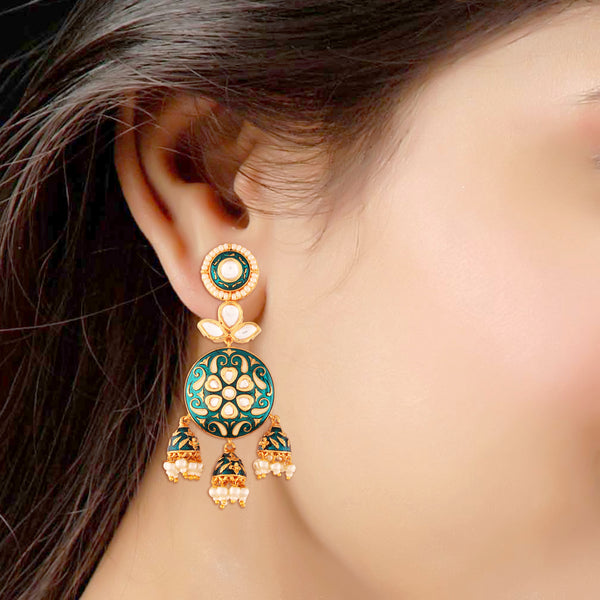 18K Gold Plated Intricately Designed Traditional Green Enamel/Meenawork Glided With Uncut Polki Kundan Brass Earrings