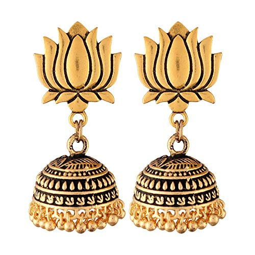 Ethnic Graceful Gold Finish Lotus Shape Oxidised Jhumki Earrings for Women (E2844FL)