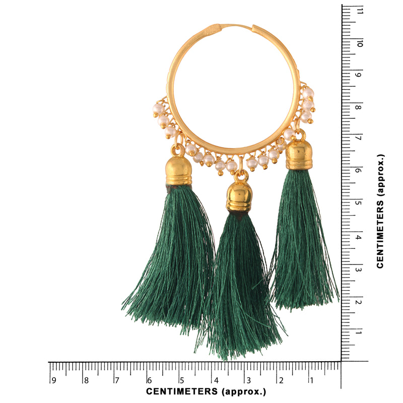 Gold Plated Silk Thread Tassel Hoop Earrings for Women