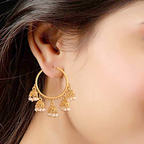 Gold Plated Traditional Pearl Jhumki Chandbali Hoop Earrings for Women