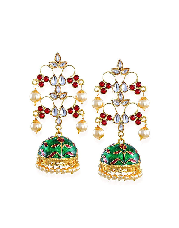 Gold Plated Dangle Kundan Studded Pearl Meenakari Jhumki Earrings