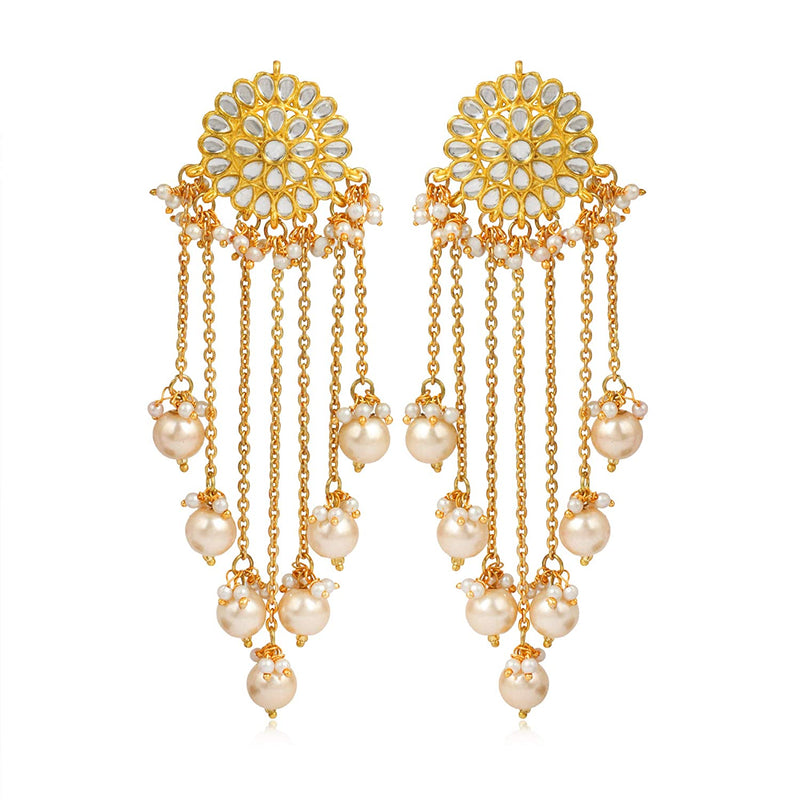 Gold Plated Dangle Kundan Studded Pearl Jhumki Earrings