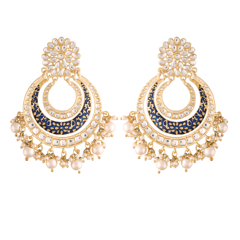 Traditional Gold Plated Handmade Blue Enamel Meenakari With Stunning Antique Finish Kundan & Pearl Chandbali Earrings for Women/Girls (E2860BL)