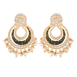 Traditional Gold Plated Handmade Enamel Meenakari With Stunning Antique Finish Kundan & Pearl Chandbali Earrings for Women/Girls (E2860B)