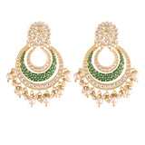 Traditional Gold Plated Handmade Green Enamel Meenakari With Stunning Antique Finish Kundan & Pearl Chandbali Earrings for Women/Girls (E2860G)