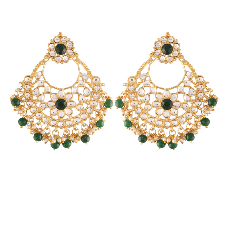 I Jewels 18K Gold Plated Traditional Big Chandbali Earrings studded with Kundan & Stone for Women/Girls (E2862G)