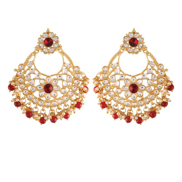 I Jewels 18K Gold Plated Traditional Big Chandbali Earrings studded with Kundan & Stone for Women/Girls (E2862M)