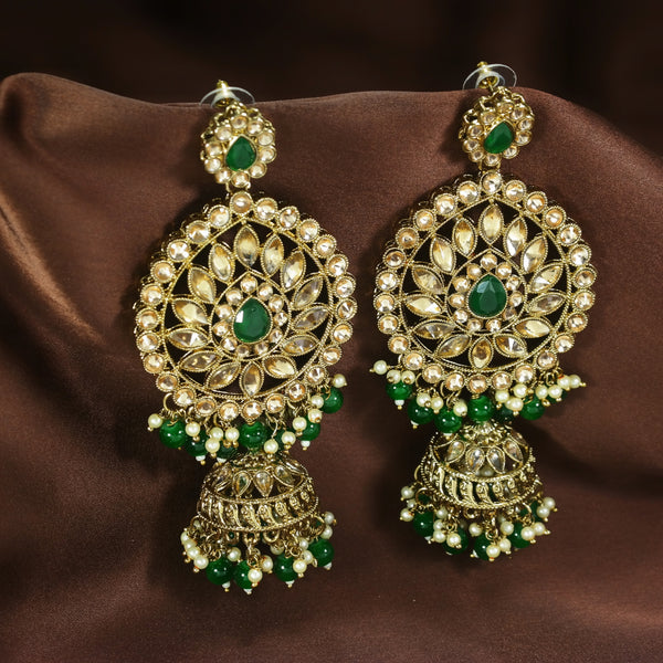 Traditional Gold Plated With Stunning Antique Finish Kundan & Pearl Jhumka Earrings for Women/Girls (E2863G)