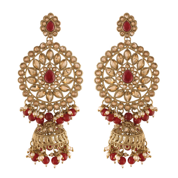 Traditional Gold Plated With Stunning Antique Finish Kundan & Pearl Jhumka Earrings for Women/Girls (E2863M)