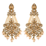 Traditional Gold Plated With Stunning Antique Finish Kundan & Pearl Earrings for Women/Girls (E2865FL)