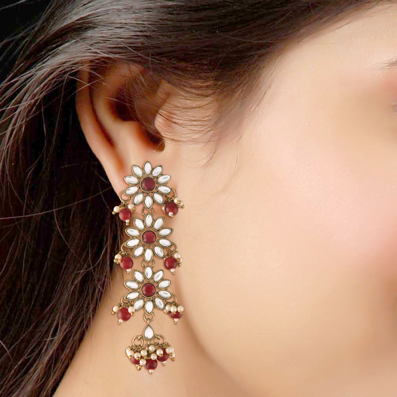 Traditional Gold Plated With Stunning Antique Finish Kundan & Pearl Earrings for Women/Girls (E2866M)