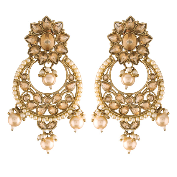 18K Traditional Gold Plated With Stunning Antique Finish Encased with Kundan & Faux Pearl Chandbali Earrings for Women/Girls (E2868FL)