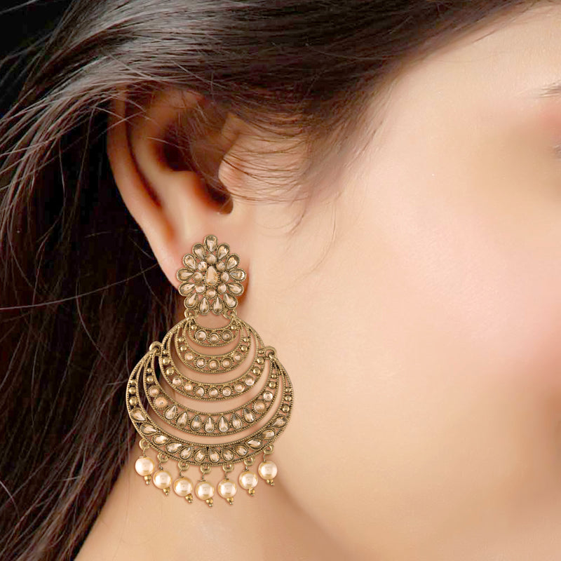 Traditional Gold Plated With Stunning Antique Finish Kundan & Pearl Chandbali Earrings for Women/Girls (E2869FL)