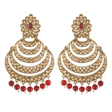 Traditional Gold Plated With Stunning Antique Finish Kundan & Pearl Chandbali Earrings for Women/Girls (E2869M)